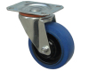 Blue industrial swivel ball bearing top plate fitting elastic rubber casters