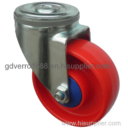 swivel red PP industrial casters with bolt hole fitting