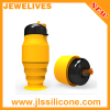 Flexible Fashion Collapsible Silicone Water Bottle with plastic lid for Sport & Travel