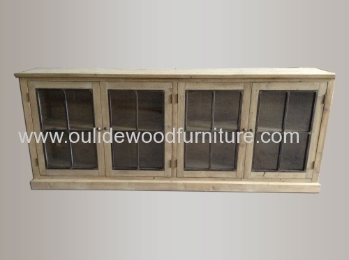 Recycled fir low display cabinets with iron doors and glass