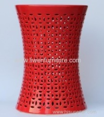 Ceramic carved red stool