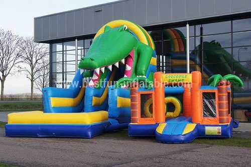 Amusing giant inflatable crocodile slide