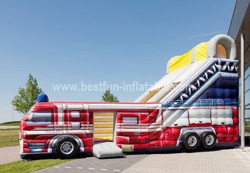 Giant inflatable jumping fire truck slide combo