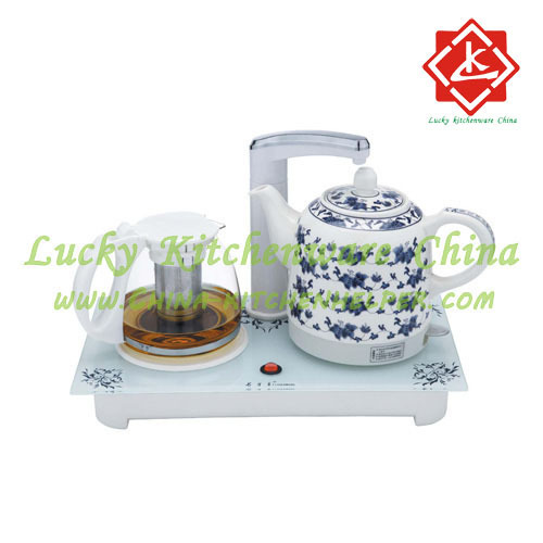 Ceramic Electric Cordless Jug Kettle Tea Set