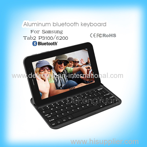 Aluminum Cover Case Bluetooth Keyboard for samsung tab2 P3100 6200
