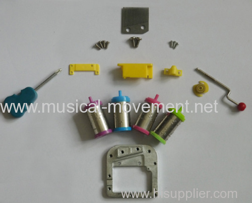 FIX ALL MUSIC BOX PARTS YOURSELF 18 NOTE HAND CRANK MUSIC BOX MOVEMENT 4 COLOR EXCHANGABLE DRUMS