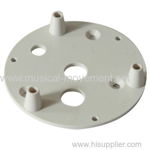 ABS PLASTIC PLATE BASE FOR WIND UP MUSIC BOX 3 LEGS WHITE