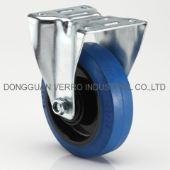 Fixed bracket 5 inches industrial elastic rubber casters