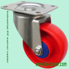 PP red 4 inch swivel caster with ball bearing