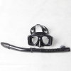 Tempered glass lens silicone diving mask and snorkel set