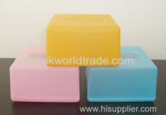 Frosted plastic tissue box