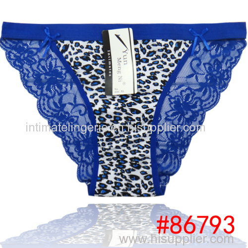 2014 New leopard laced cotton bikini panties lady brief stretch cotton short pants women underwear lingerie intimate hot
