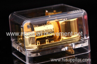 KEY WIND UP TRANSPARENT ACRYLIC MUSIC BOX