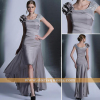beautiful mermaid prom dresses grey sheath scoop neckline tea length mother of the groom dresses
