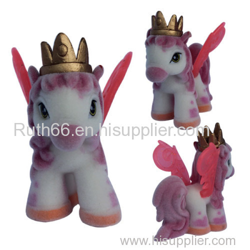 pvc Material zoo animals plastic toys,flocking cartoon horse toy