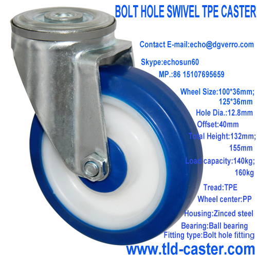Bolt hole fitting swivel TPE casters