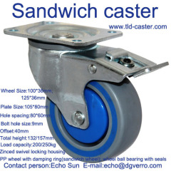 Storage cage swivel top plate locking sandwich casters