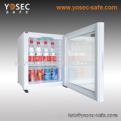 30 litre Glass door silent hotel minibar and fridge for hotel bedroom