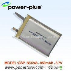 High capacity lithium Polymer battery 583248 850mAh 3.7v