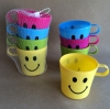 Plastic smiley picnic cups 4PK