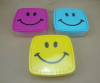 Square lunch box with happy face plastic