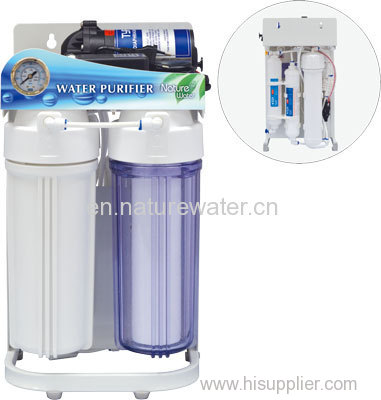 Reverse Osmosis System with Steel Shelf & Pressure Gauge