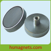 Feamale Threaded Sintered Hard Ferrite / Ceramic Pot Magnet