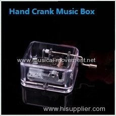 ACRYLIC HAND CRANK MUSIC BOX SILVER MOVEMENT
