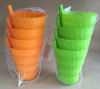 4PK drinking cups with built in straw plastic