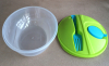 Plastic lunch box with fork and coniment pot 1200ml