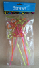Plastic hard drinking straw fun party straw 6PK PET