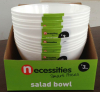 "Salad bowl 10"" round white plastic in display box packing"