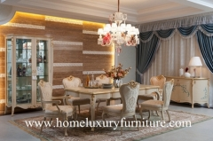 Wooden Dining table and chairs luxury dining room sets glass cabinet buffet cabinet