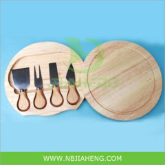 4pcs Stainless Steel Cheese Knife Set with Wooden Cutter Board