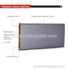Promotional super slim dual USB output mobile Power Bank charger