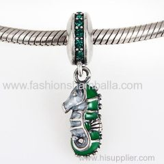 European Sterling Silver Dangle Tropical Seahorse with Emerald Austrian Crystal Charm