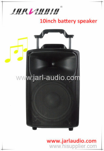 10inch plastic battery speaker with wireless microphone/MP3 player/outdoor speaker