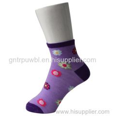 Purple Ankle Child Socks with Sunflower Pattern