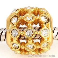 Gold Plated Sterling Silver In the Spotlight Bead with Clear Austrian Crystal