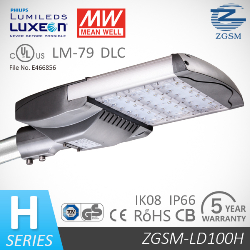 IP66 Rated 100W UL CE GS LED Street Light with power reduction 50%