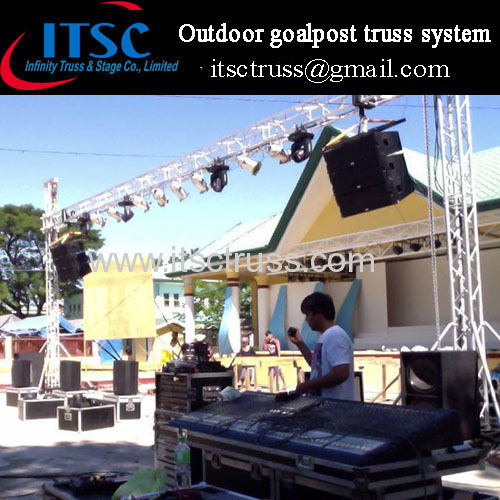 Medium outdoor goalpost truss system for speakers and lighting
