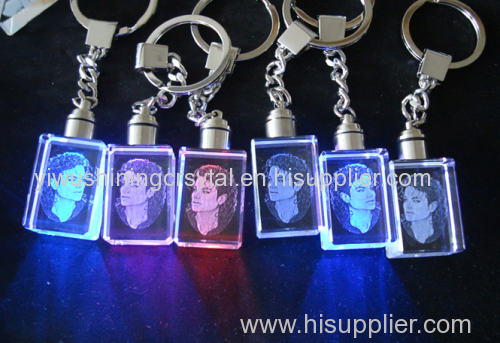 cheap LED light 3d laser engraving crystal glass keychain keyring