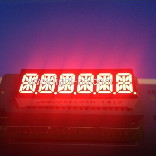 Custom Super Red six digit 14 segment led display 10mm common anode for Instrument Panel