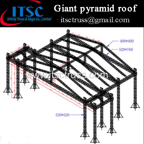 Heavy duty giant pyramid roof truss system for Mongolia client