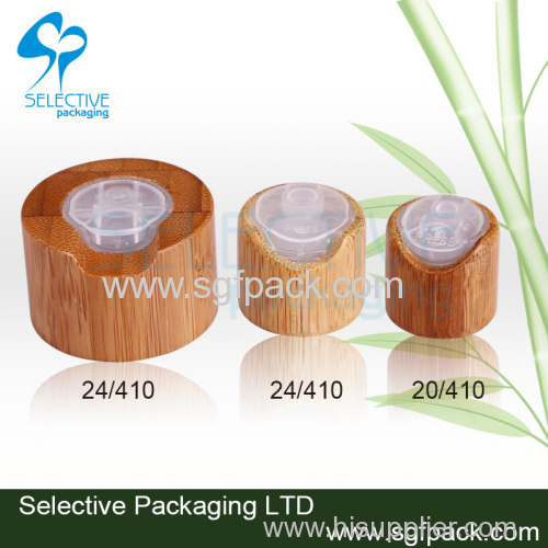 2015 new product cosmetic packaging inner plastic cap bamboo/wooden packaging disc top cap bamboo/wooden bottle cap