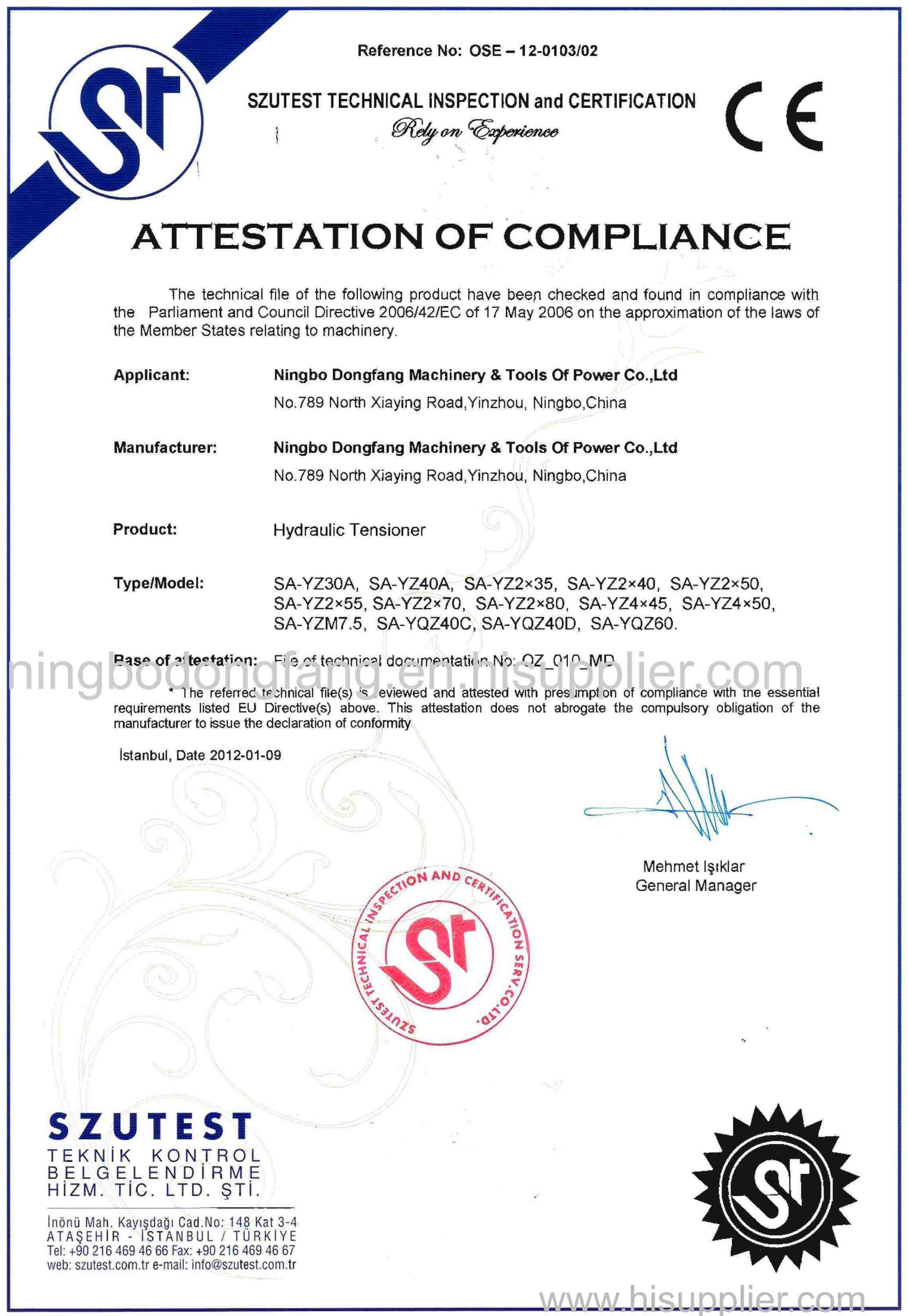 CE certificate of Hydraulic Tensioner