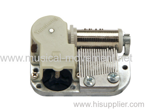 FEMALE WINDING SHAFT MINIATURE 18 NOTE MUSIC BOX MECHANISM