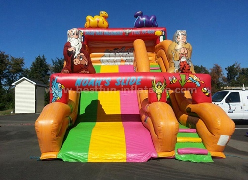 Inflatable cartoon bounce and slide