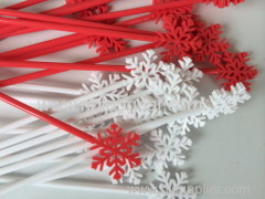 24Pcs plastic snowflake shape stir sticks
