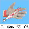 Hongcho brand 100% stainless steel mesh safety glove textile industry hand protection glove